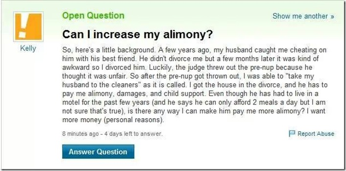 woman adultery asking can I increase my alimony