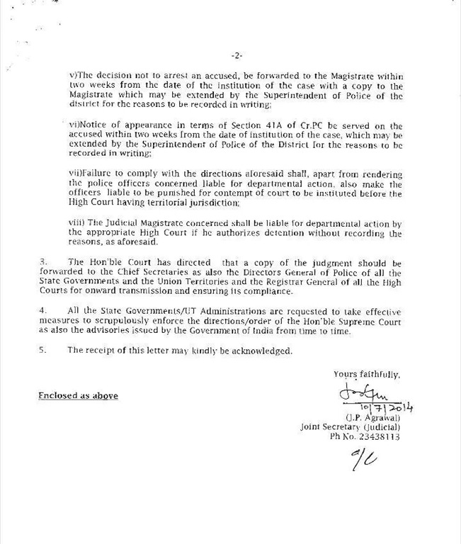 Home ministry's advisory letter/circular to State/UT to curb misuse