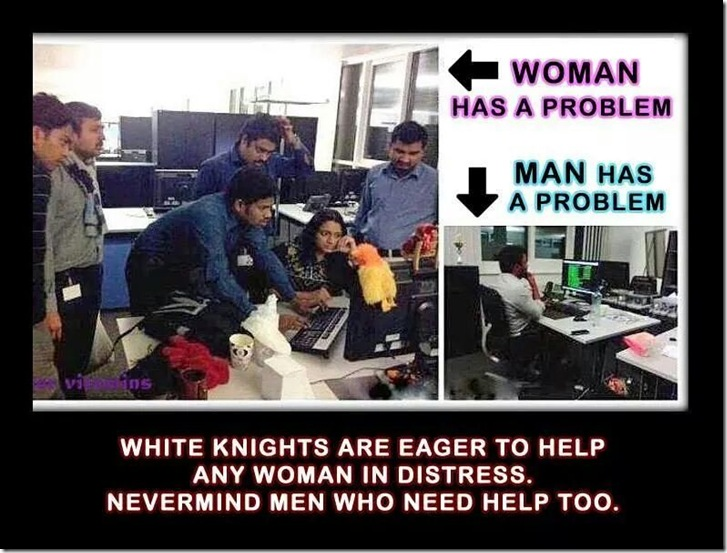 white knight men helping woman man ignored