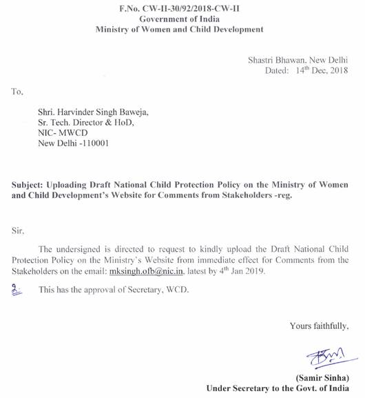 Draft National Child Protection Policy Circular 14 Dec 2018
