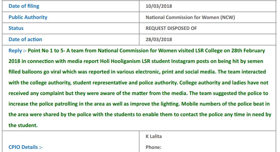 RTI to NCW semen filled balloon incident