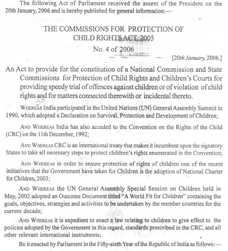 Preamble The Commissions For Protection Of Child Rights Act 2005