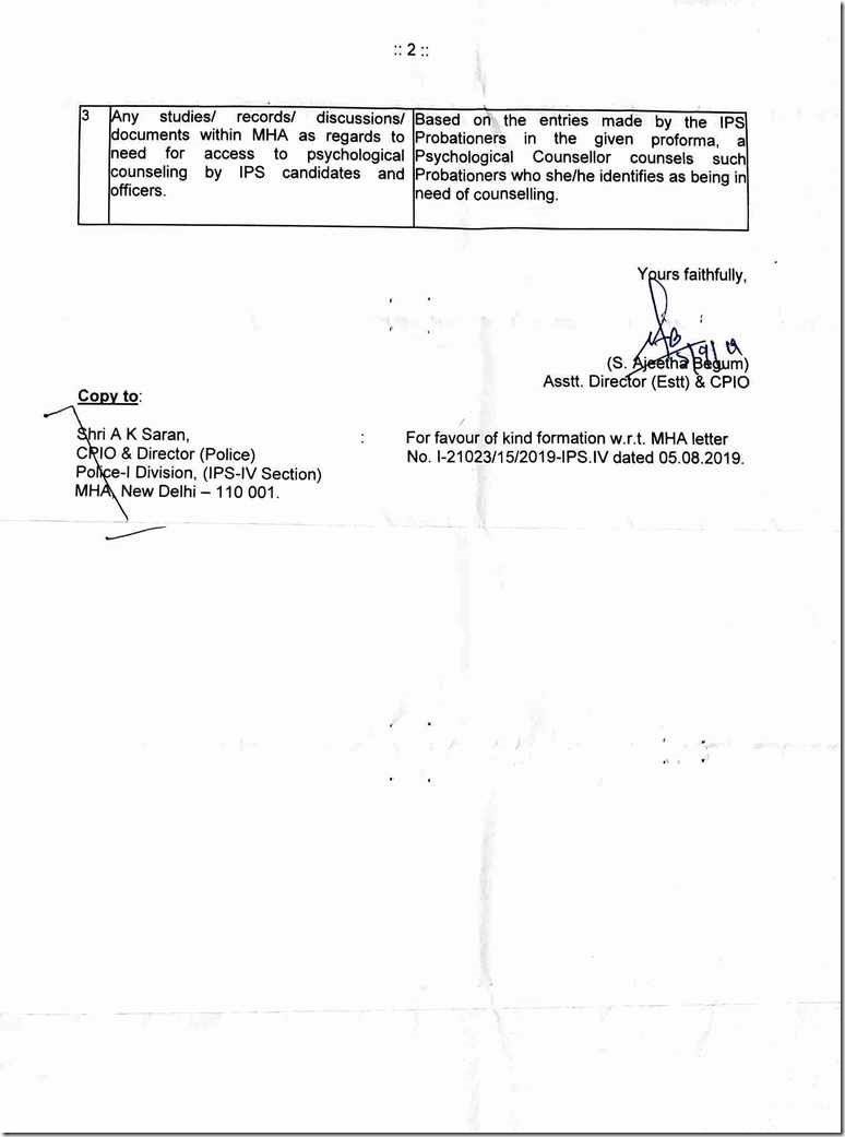RTI Reply IPS Officer Suicide Pg2