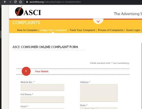 ASCI Online Complaint Form Against Advertisement