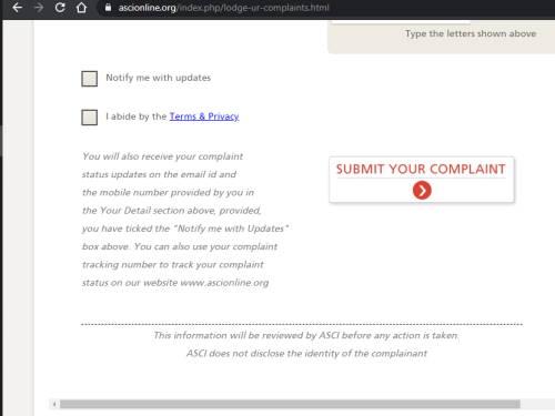 ASCI Online Complaint Form Submit
